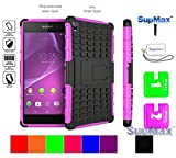 Sony Xperia Z3 Case,Sony Z3 Case,SupMax™ *Hybrid Rubberized* *TPU+PC* [Scratchproof] [Shock proof] [Skidproof] Impact Resistant Hard Shell With Kickstand [Gifts] for sony xperia z3 (Deep Pink)