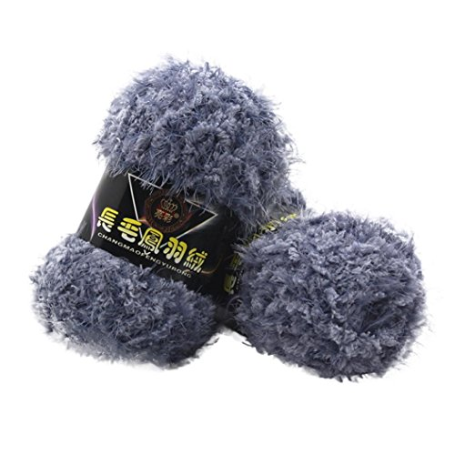 Sacow Fluffy Eyelash Yarn, Velvet Knitting Yarn Multicolor Feather Down Hand-woven Yarn Crochet Coral Cashmere Yarn (H)