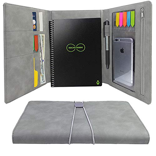 Rocketbook Cover, Padfolio Personal Organizers for Everlast Wave Smart Notebook with Pen Holder Business and Credit Cards Holder,10