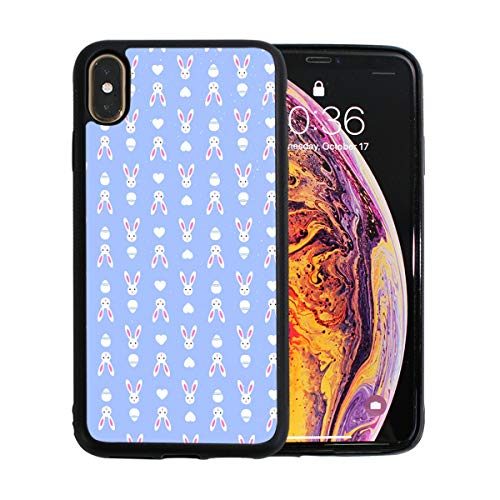Easter Retro Bunny Blue Case for iPhone Xs 6.5-Inch Max Soft TPU Thin Cover Shock-Absorption Bumper Cover ()