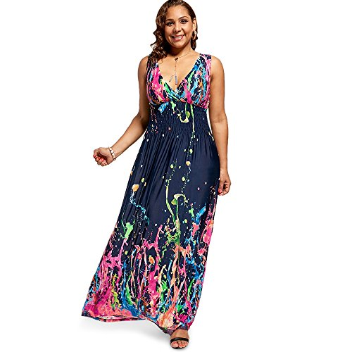 (BISOZER Women Plus Size Colourful Splash Floral Print Cold Shoulder Maxi Dress Smocked Waist Party Prom Long Dress (XX-Large))