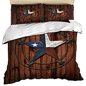 Image of Anzona 4 Piece Bedding Set Include 1 Comforter/Quilt Cover California King, Texas Star on Wooden Plank Bedspread Daybed with Zipper Closure with 2 Pillow Sham Cases Home and Kitchen