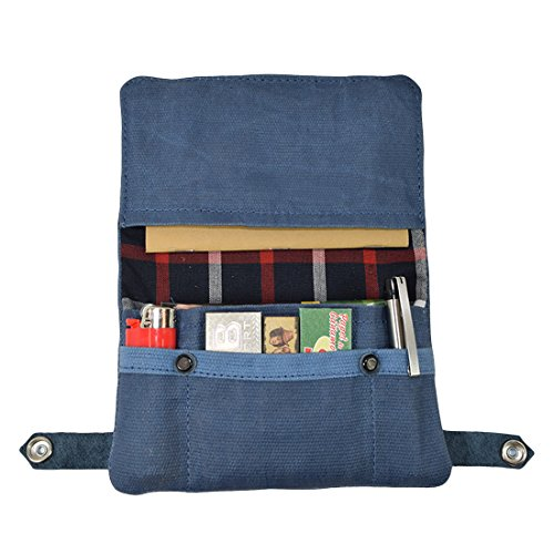 Waxed Canvas Tobacco Pouch, Smoking and Field Notes Case Handmade by Hide & Drink :: Blue Mar (Compartment Has Drawstring Main)