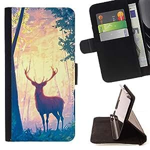 Momo Phone Case / Flip Funda de Cuero Case Cover - Ciervo ?rboles Forestales Arte Pintura Dibujo Animal - Sony Xperia Style T3