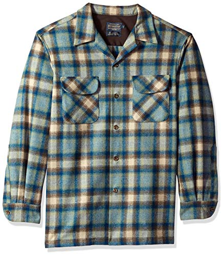 Pendleton Men's Long Sleeve Classic-fit Board Shirt, Blue/Brown/Green Ombre, LG 100% Cotton Part Number