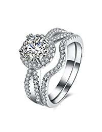 Women's Pack of 2 Cubic Zircon Wedding Band 925 Sterling Silver Bridal Eternity Engagement Promise Ring