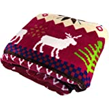 Home Soft Things BOON Light Weight Christmas Collection Printed Flannel Fleece Blanket Burgundy Christmas Deer (Twin)