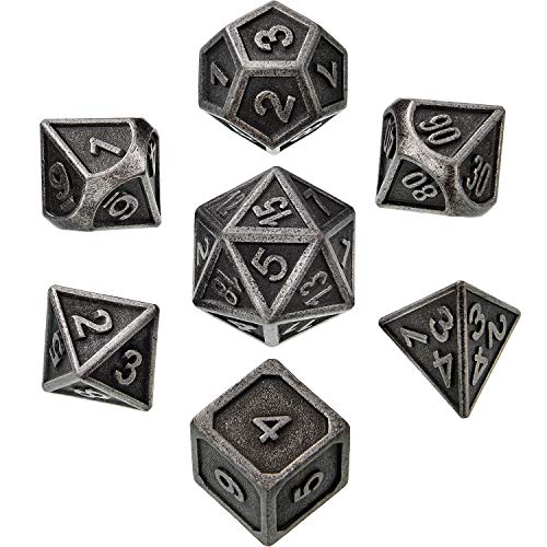 Dragon Dice Game - 7 Pieces Metal Dices Set DND Game Polyhedral Solid Metal D&D Dice Set with Storage Bag and Zinc Alloy with Enamel for Role Playing Game Dungeons and Dragons, Math Teaching (New Silver Nickel 2)