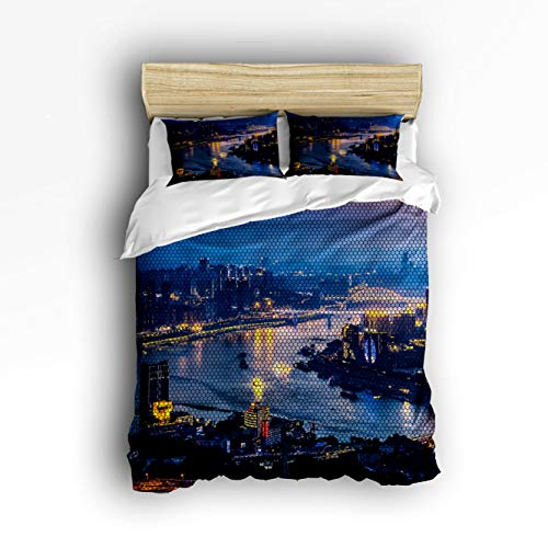 3 Piece Bedding Set Twin Size, Midtown Skyline in Evening Skyscrapers Amazing Metropolis City States Photo 3 pcs Duvet Cover Set Bedspread Daybed for Childrens/Kids/Teens/Adults