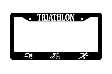 Amazon.com: Triathlon With Logos Black Plastic License Plate Frame ...