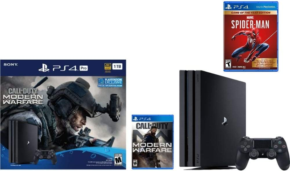 Newest Sony PlayStation 4 Pro 1TB Console Call of Duty Marvels Spider-Man Modern Warfare Bundle W //Game Game of The Year Edition