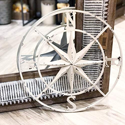 PD Home Garden Distressed Antique White Metal Rose Compass Wall Decor 18-in