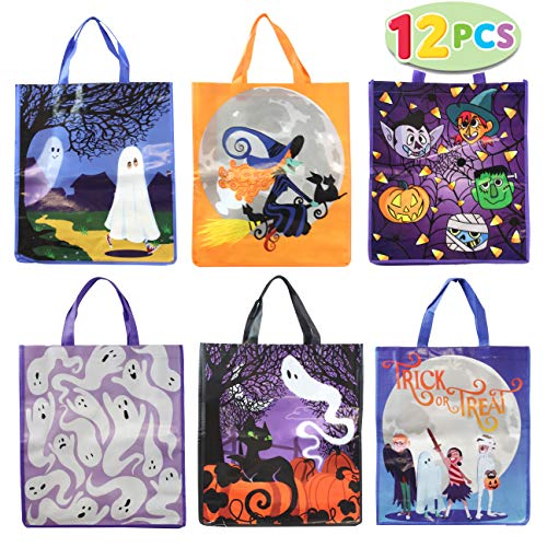 "12 Halloween Large Treat Goody Tote Bags 17"" x 15"" For Halloween Trick or Treat Candy Bags, Gift Goodie Bags, School Classroom Giveaway Bags, Party Favor Supplies -"