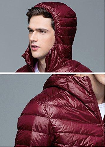 Puffer Down Lightweight Autumn Jacket Red ZKOO Men Jacket Outwear Zipper Padded Down Coat Hood Winter and Warm t5OwHXBwqx