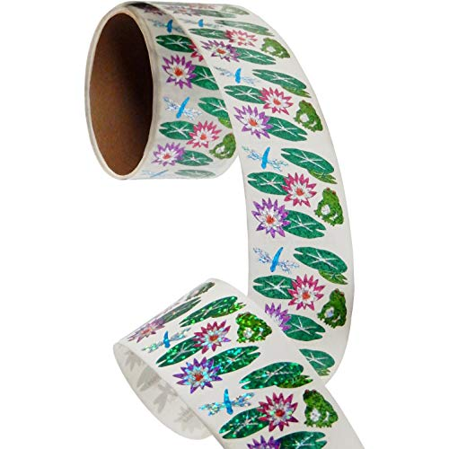 (Bulk Roll Prismatic Stickers, Lily Pads/Frog/Dragonfly (100 Repeats))