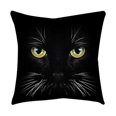 VJGOAL Moda Lindo Negro Ojos de Gato impresión en casa Decorativo Suave sofá cómodo Cojín Cuadrado Funda de Almohada(45_x_45_cm,Negro10)