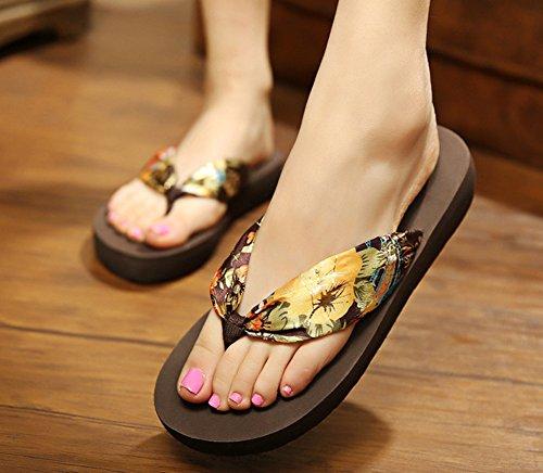 Sfnld Womens Fashion Boho Flip Flop Plattform Strand Tofflor Thong Wegde Klack Sandaler Brun 2