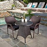 Clayton Patio Furniture ~ Outdoor 3pc Multibrown Wicker Bistro Set Review