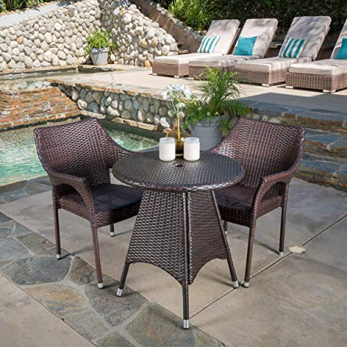 Christopher Knight Home Clayton Patio Furniture ~ Outdoor 3pc Multibrown Wicker Bistro Set