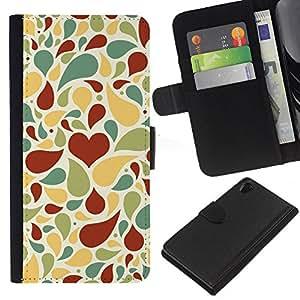 RenCase/tapa diario Funda de piel sintética con tarjetero para Sony Xperia Z2–Creative amor patrón