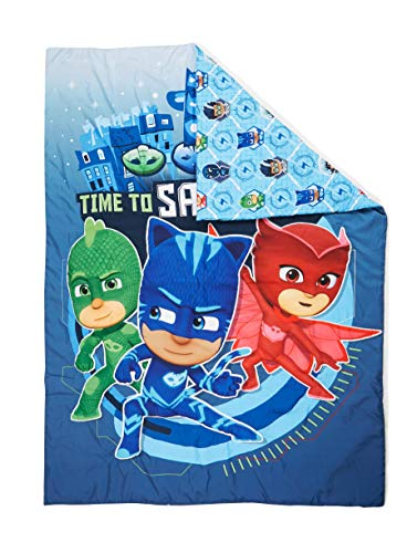 (PJ Masks Time to Save The Day Toddler Bed Comforter, Blue)