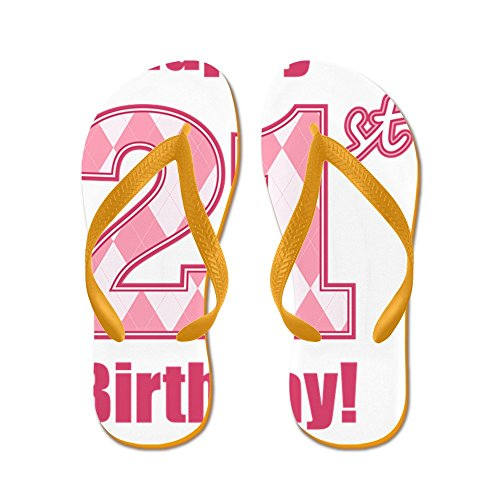 Cafepress Happy 21st Birthday - Pink Argyle - Infradito, Divertenti Sandali Infradito, Sandali Da Spiaggia Arancio