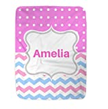 Toddler Blanket Personalized, Baby Blanket, Chevron Fleece Blanket, Super Soft Blanket (Pink)