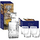 Royal Collection 4 x 200ml Glass Whiskey Wine Tumblers & Square Glass Decanter Bottle Boxed Set by Royal Collection