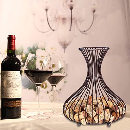 Jun Da Luxury Retro Metal Wine Bottle Cork Holder Storage Container Mesh Shaped Luxury Wine Cork Basket Cage Rack