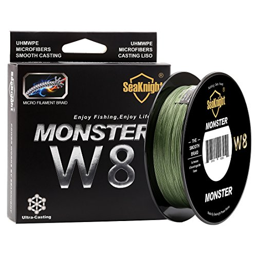 SeaKnight Monster W8 Braided Lines 8 Strands Weaves 500M/547Yards Super Smooth PE Braided Multifilament Fishing Lines for Sea Fishing Low-Vis Green 20LB (Vis Lo Line Fishing Green)
