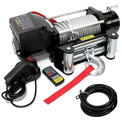 電動ウインチ 12V 10000LBS(4535kg) 無線リモコン付属 電動 ウインチ オフロード車 トラック SUV車(ZeepやFJクルーザー等) 防水仕様 B014GS2Y3W