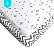 Pack N Play Sheets - 2 Pack - 100% Soft Jersey Cotton Pack N Play Fitted Sheet Set for Mini and Portable Crib - Stylish Grey Chevron/Stars Print - Perfect Playard Sheets for Baby Girl Or Baby Boy