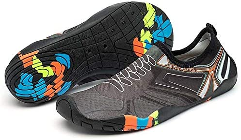 アウトドアワタリシューズ、速乾性のビーチ上流用の靴白い模造レースのゴム通気性の軽量ダイビングシューズ水泳シューズヨガフィットネス機能シューズ ポータブル (色 : Gray, Size : US9.5)