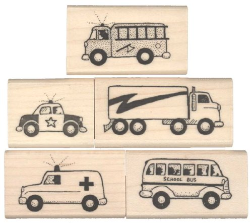 (Car Rubber Stamps - Set of 5 Stamps & 1 Pad - Stamps by Impression)
