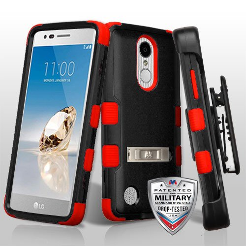 LG Aristo/Fortune/K4 (2017)/K8 (2017)/LV3/Phoenix 3 Case, Mybat Tuff Dual Layer Protection Hybrid Stand PC/TPU Rubber Holster Case For LG Aristo/Fortune/K4 (2017)/K8 (2017)/LV3/Phoenix 3, (Tuff Rubber)
