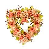 Adeeing 7-Inch Heart Wreath, Orange