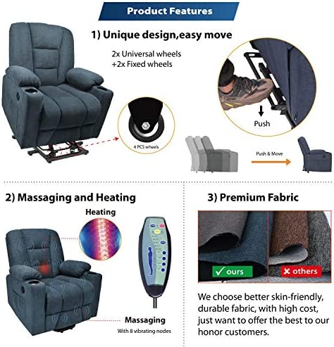 Maxxprime Free Moving Electric Power Lift Recliner Chair Sofa