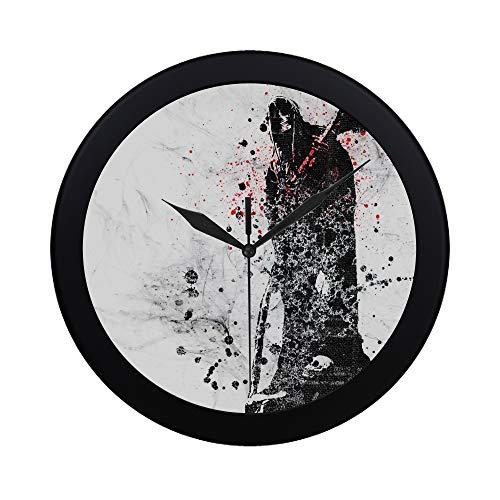 Modern Simple Dark Grim Reaper Horror Skeletons Skull Creepy Pattern Wall Clock Indoor Non-Ticking Silent Quartz Quiet Sweep Movement Wall Clcok for Office,Bathroom,livingroom Decorative 9.65 Inch ()