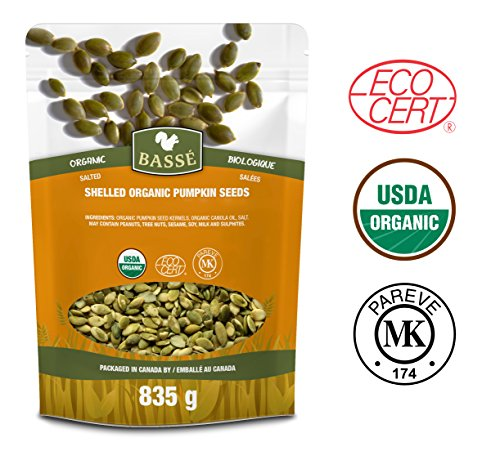 Basse Organic Pumpkin Seeds Kernels Nutritious, Salted, Wholesome, Superfood Snack, 29oz, (835g) ()