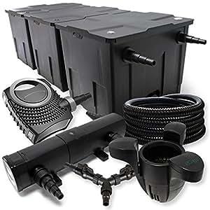 SUNSUN Juego de filtros para 90000l Estanque 36W depuradora neo800070W Bomba 25m Manguera Skimmer SK30