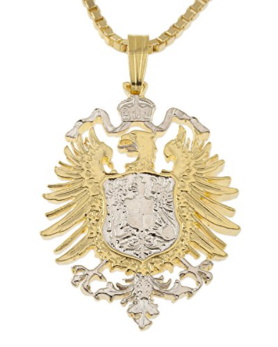 Eagle German - German Eagle Pendant and Necklace, GermanyCoin Hand Cut, 1 1/8