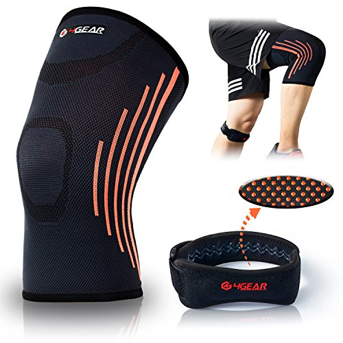 Knee Brace Kit- (2 Pack) – New Design Knee Compression Sleeve Support & Patella Knee Strap- Great for Running, Jogging, Arthritis, Injury Recovery, Joint Pain Relief & Weight Lifting (Large) Patella Tendon Sleeve