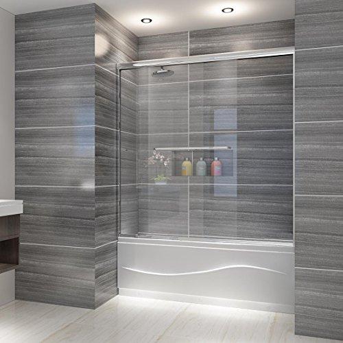 ELEGANT SHOWERS Semi-Frameless Bypass Sliding Bathtub Doors, 56