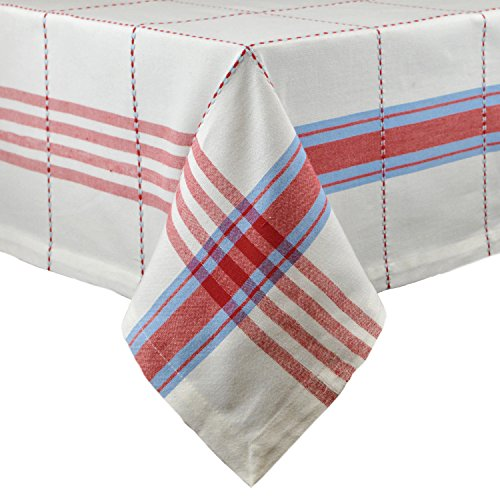 Cooperville Plaid Square Tablecloth, 100% Cotton with 1/2 Hem (60x84 - Seats 6 to 8)