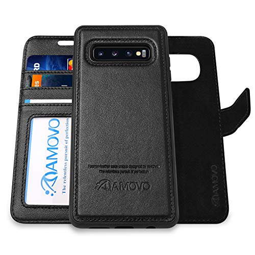 Galaxy S10 Plus Wallet Case Detachable [Genuine Leather] AMOVO Leather Case for Galaxy S10 Plus [2 in 1] [Wireless Charge] [Wristlet] Folio Case for Samsung S10+ (S10Plus, Genuine Leather Black)