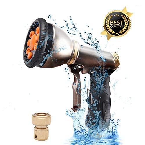Zechzehn Garden Hose Nozzle Sprayer Leak Proof, Water Hose Nozzle Sprayer Metal Heavy Duty,Hose Spray Nozzle For Garden Hose – 9 Patterns for Lawn,Patio, Garden, Dog and Washing Car