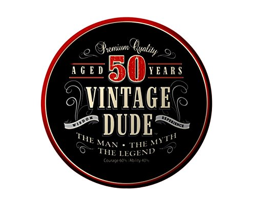50th Birthday Vintage Dude Aged 50 Years Birthday ~ Edible Icing Image Cake/cupcake Topper!!! (8