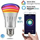 Smart Led Bulb, Work with Amazon Alexa and Google Assistant, Phone Control, Color Tunable 7W E27 Wi-Fi Smart Bulb, 70W (Aluminum Grey)