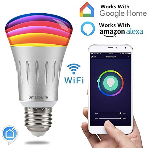 Smart Led Bulb, Work with Amazon Alexa and Google Assistant, Phone Control, Color Tunable 7W E27 Wi-Fi Smart Bulb, 70W (Aluminum Grey) by Smart-Life