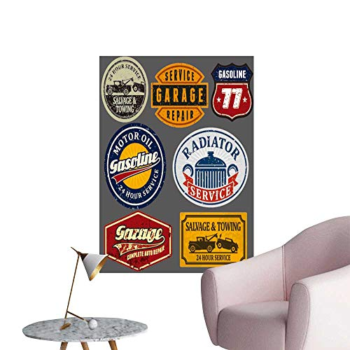 SeptSonne Wall Art Prints Vintage Automotive Labels Signs Set for Living Room Ready to Stick on Wall,16